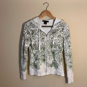 White and green hoodie with flowers